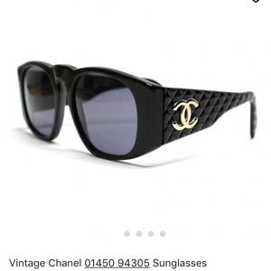 CHANEL Black Quilted Sunglasses 01450